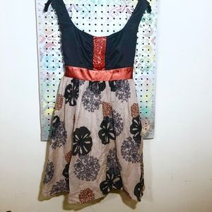 Empire Waist Button Cluster Floral Skirt Dress: 4